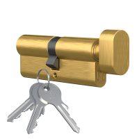 Wkładka bębenkowa z gałką Medos mosiądz , 3 klucze