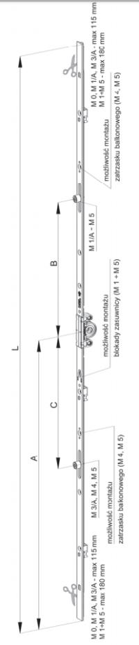 Zasuwnica M RU zmienna wysokość klamki, rolka walcowa